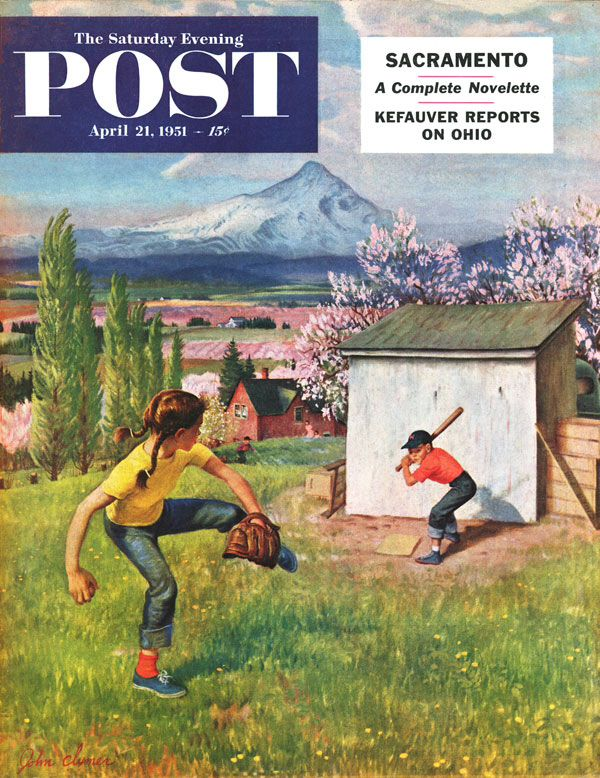 Women's Baseball, Saturday Evening Post Cover, Institute for Baseball Studies
