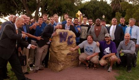 Lancers celebrate their Rock Restoration Service Project during Whittier Weekend 2012