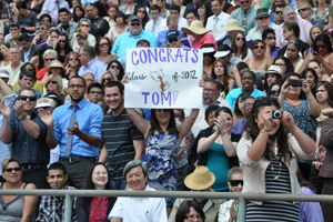 A cheering crowd at Commencement.
