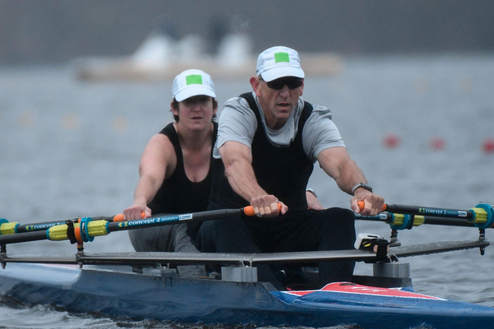 Russell Gernaat and Laura Goodkind rowing. US Rowing image.