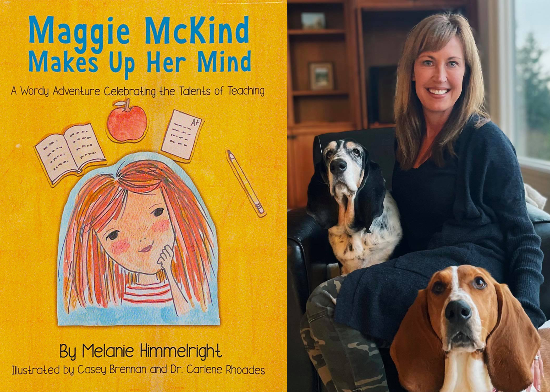 image of Melanie Himmelright and book cover, Maggie McKind Makes Up Her Mind