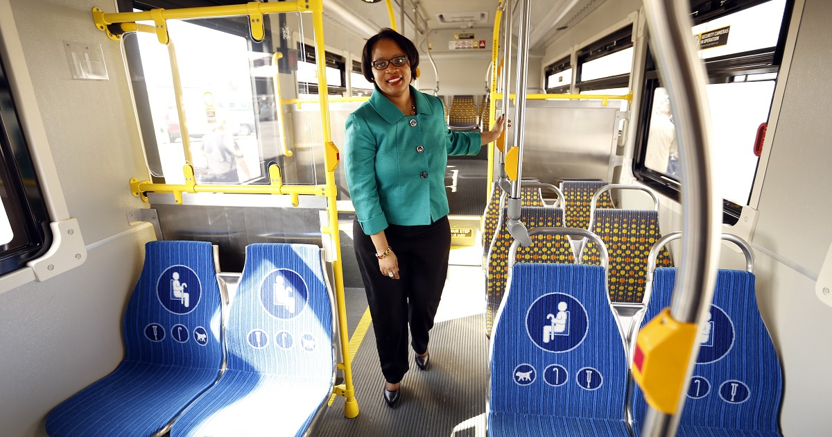 Stephanie Wiggins '92 on a Metro bus