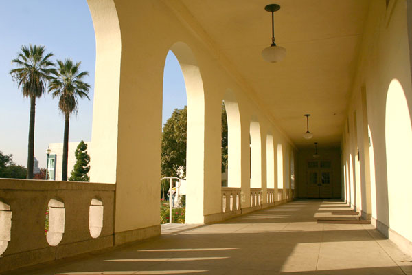 Deihl Hall portico in late afternoon
