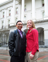 Whittier students Brownie Sibrian '10 and Kourtney Zilbert '11 traveled to Sacremento to advocate for Cal Grants