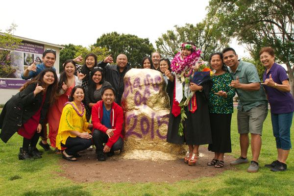 A Whittier graduate celebrates commencement with family
