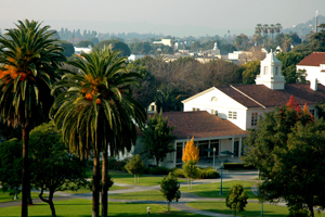 View across lower quad of Whittier College campus.
