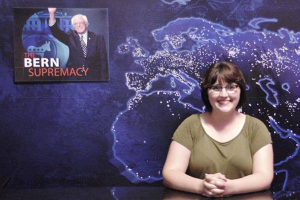Political science student Carly Stevens on The Daily Show.