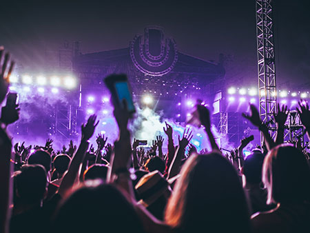 A music festival at night