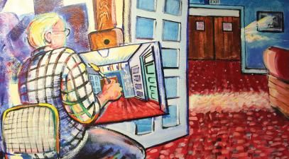 A painting of a man painting in a hallway.