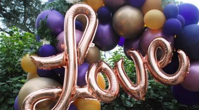 "Balloons spelling the word ""love"""