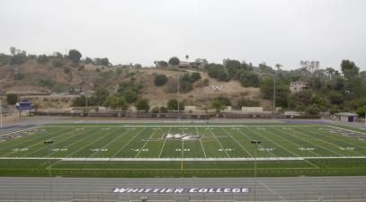 A panoramic view of the football field
