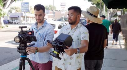 Recent alumni and students work on an indie film set in Whittier.