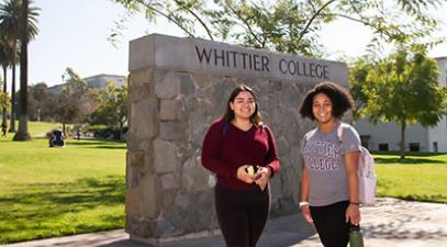 Whittier College campus, students